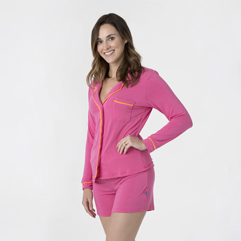 Solid Women's Collared Pajama Set with Shorts in Flamingo with Tamarin Trim