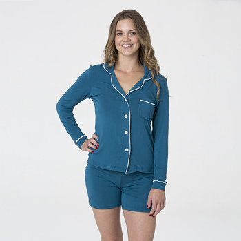Solid Women's Collared Pajama Set with Shorts in Heritage Blue with Natural Trim