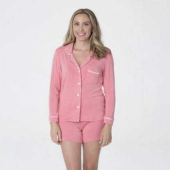 Solid Women's Collared Pajama Set with Shorts in Strawberry with Natural Trim