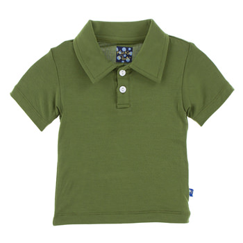 Basic Short Sleeve Polo in Moss