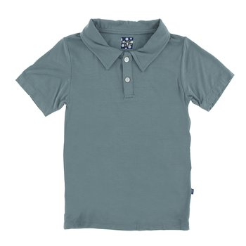 Solid Short Sleeve Polo in Dusty Sky