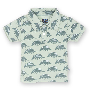 Print Short Sleeve Polo in Aloe Armadillo