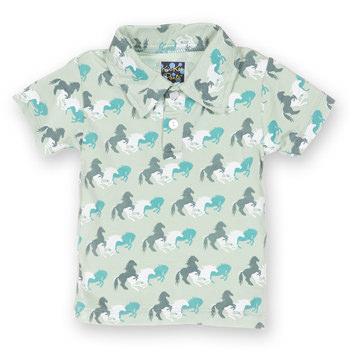 Print Short Sleeve Polo in Aloe Wild Horses
