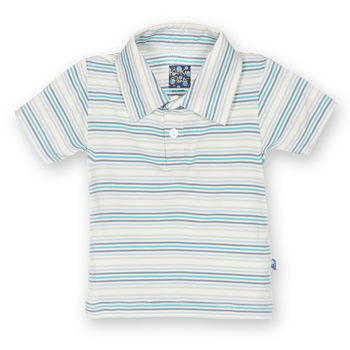 Print Short Sleeve Polo in Boy Desert Stripe
