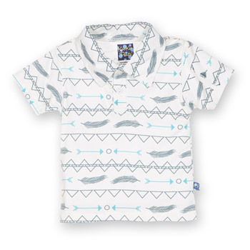 Print Short Sleeve Polo in Natural Southwest