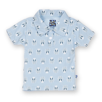 Print Short Sleeve Polo in Pond Scarab