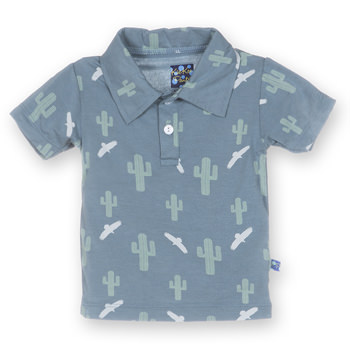 Print Short Sleeve Polo in Dusty Sky Cactus
