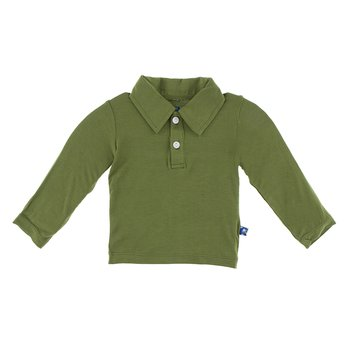 Basic Long Sleeve Polo in Moss