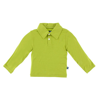 Basic Long Sleeve Polo in Meadow