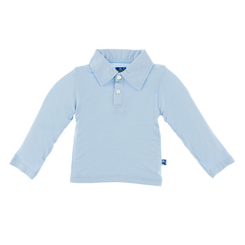 Basic Long Sleeve Polo in Pond