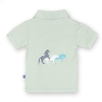 Short Sleeve Applique Polo in Aloe Wild Horses