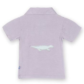 Short Sleeve Applique Polo in Feather Lizard