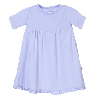 Basic Short Sleeve Swing Dress with Keyhole and Button Closure in Lilac
