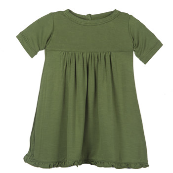 Basic Short Sleeve Swing Dress with Keyhole and Button Closure in Moss
