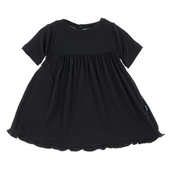 Basic Short Sleeve Swing Dress with Keyhole and Button Closure in Midnight
