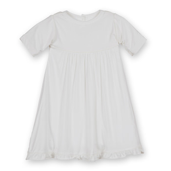 Basic Short Sleeve Swing Dress with Keyhole and Button Closure in Natural