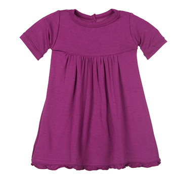 Basic Short Sleeve Swing Dress with Keyhole and Button Closure in Orchid