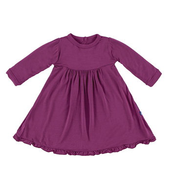 Basic Long Sleeve Swing Dress with Keyhole and Button Closure in Orchid