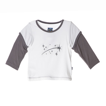 Long Sleeve Double Layer Applique Tee in Natural Shooting Stars