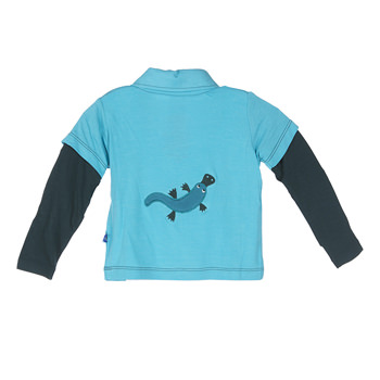 Long Sleeve Double Layer Applique Polo in Confetti Platypus