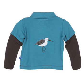 Solid Long Sleeve Double Layer Applique Polo in Bay Sandpiper