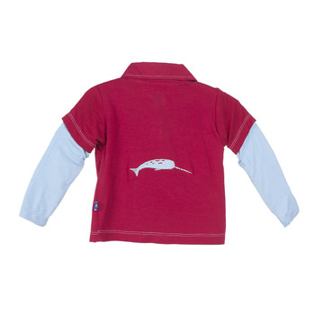 Solid Long Sleeve Double Layer Applique Polo in Crimson Narwhal
