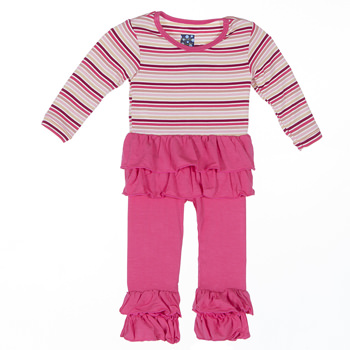 Long Sleeve Double Ruffle Outfit Set in Girl Forest Stripe