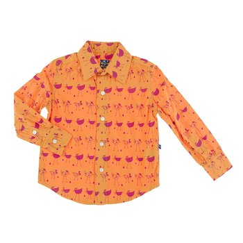 Print Long Sleeve Woven Button Down Shirt in Apricot Chickens