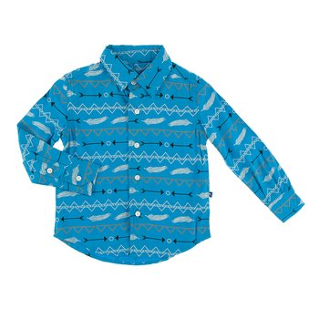 Print Long Sleeve Woven Button Down Shirt in Amazon Southwest