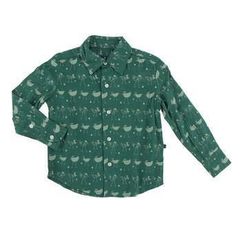 Print Long Sleeve Woven Button Down Shirt in Ivy Chickens