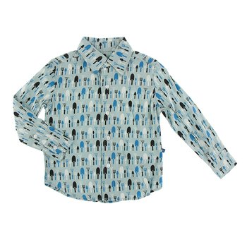 Print Long Sleeve Woven Button Down Shirt in Jade Garden Tools