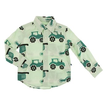 Print Long Sleeve Woven Button Down Shirt in Pistachio Tractors and Wheat