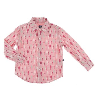 Print Long Sleeve Woven Button Down Shirt in Strawberry Garden Tools