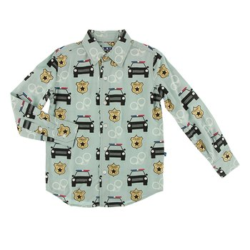 Print Long Sleeve Woven Button Down Shirt in Jade Law Enforcement