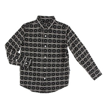 Print Long Sleeve Woven Button Down Shirt in Midnight Infrastructure