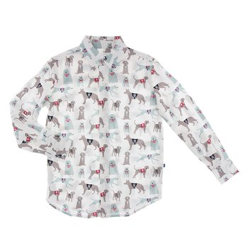 Print Long Sleeve Woven Button Down Shirt in Natural Canine First Responders