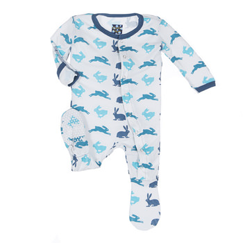 Print Footie in Boy Natural Hare