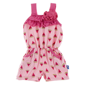 Print Flower Romper with Pockets in Lotus Watermelon
