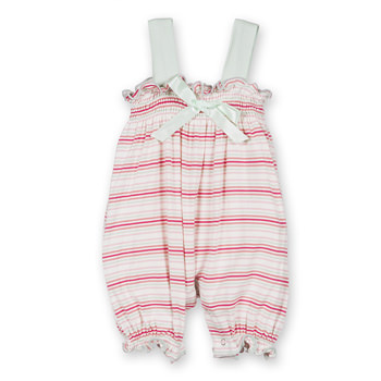 Print Gathered Romper with Bow in Girl Desert Stripe
