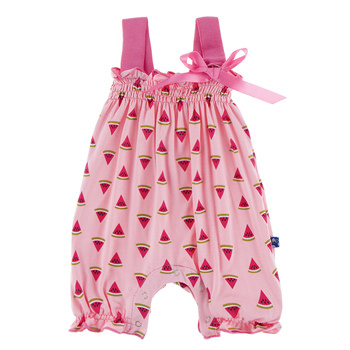 Print Gathered Romper with Bow in Lotus Watermelon