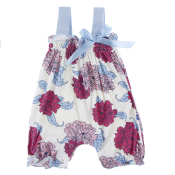 Print Gathered Romper with Bow in Natural Peony