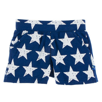 Print Fleece Shorts in Vintage Stars