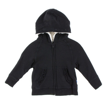 Fleece Ruffle Zip-Front Hoodie with Sherpa-Lined Hood in Midnight