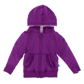 Fleece Ruffle Zip-Front Hoodie with Sherpa-Lined Hood in Starfish