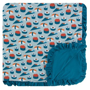Print Ruffle Toddler Blanket in Jade Sushi