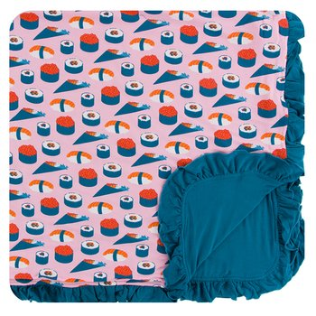 Print Ruffle Toddler Blanket in Lotus Sushi