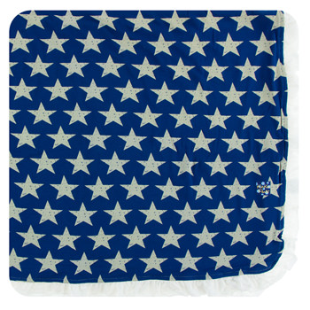 Print Ruffle Toddler Blanket in Vintage Stars