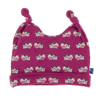 Print Double Knot Hat in Berry Cow