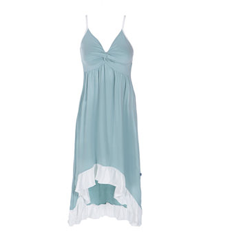 Solid Hi Lo Ruffle Nightgown in Jade with Natural Trim