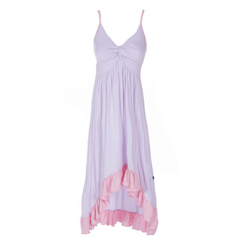 Solid Hi Lo Ruffle Nightgown in Thistle with Lotus Trim